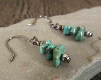 11 - EBX12: Turquoise stone earrings, bohemian jewelry, blue green earrings, stone chip earrings, turquoise jewelry, gunmental earwires