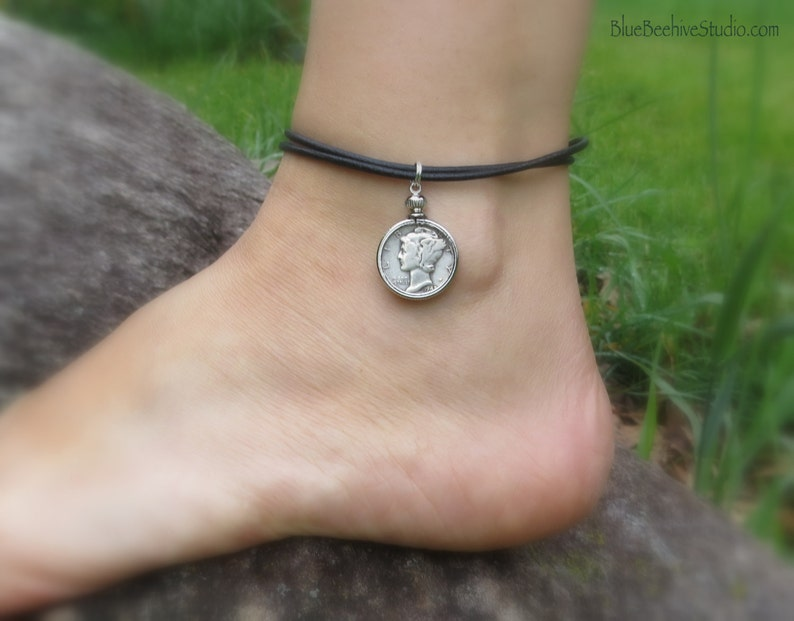 ABX06-01: Mercury Dime Anklet Liberty Head jewelry coin image 0