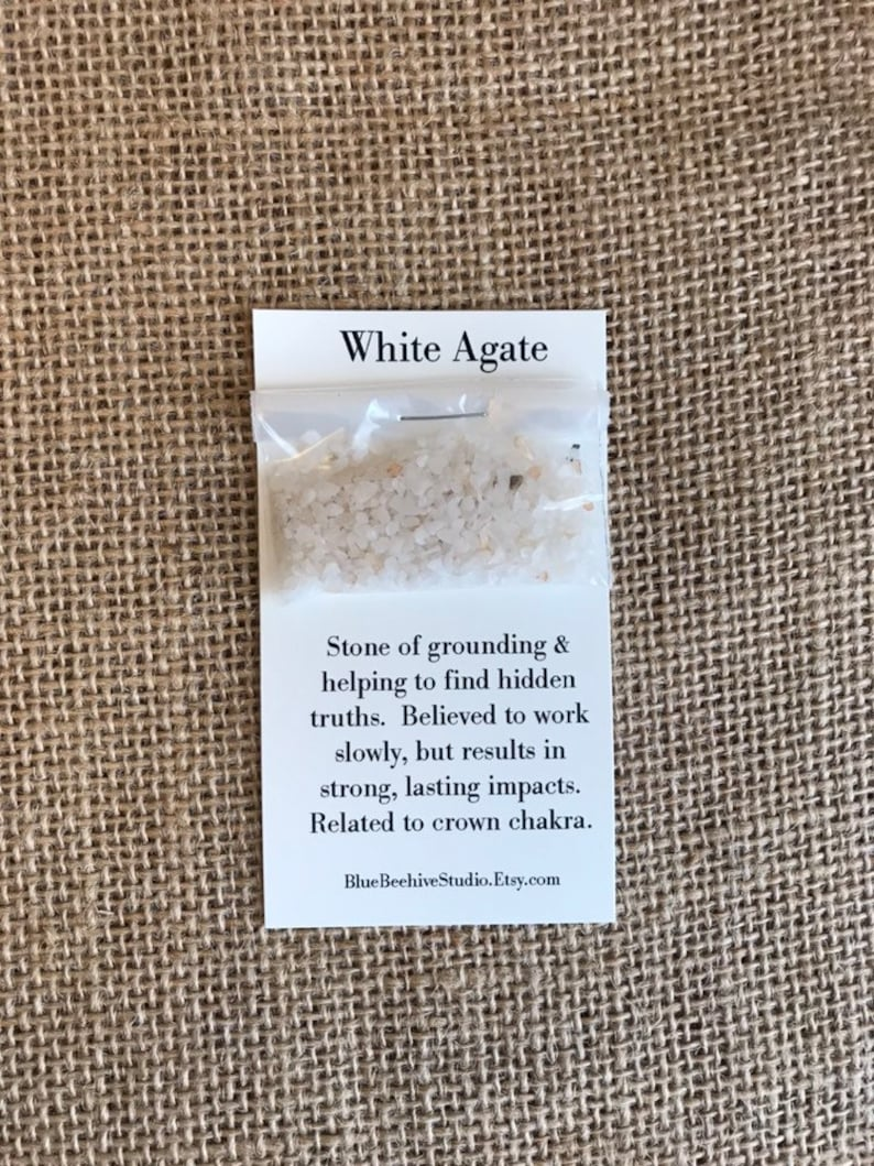 White Agate stone chips Grounding and truth stones crown image 0