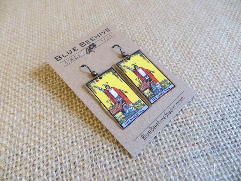 EBX16-01a: Tarot Earrings The Magician Rider-Waite jewelry image 0