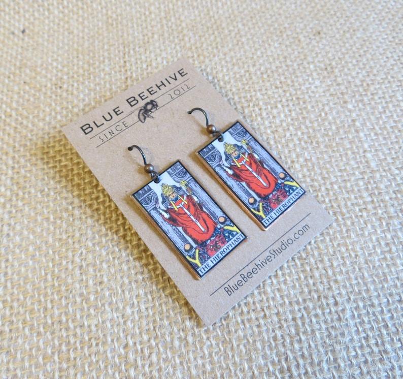 EBX16-05: Tarot Earrings The Hierophant Rider-Waite jewelry image 0