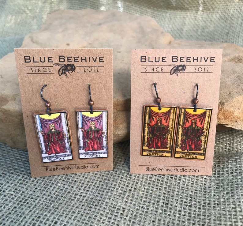 EBX16-11: Option B Tarot Earrings Justice XI Rider-Waite image 0