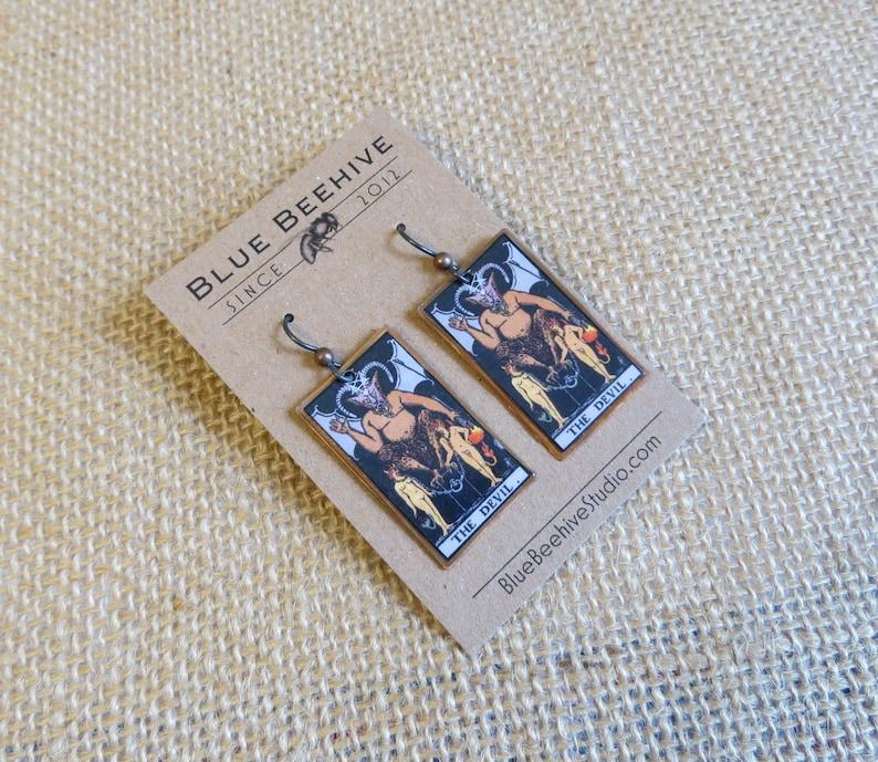 EBX16-15a: Tarot Earrings Devil Rider-Waite jewelry Tarot image 0