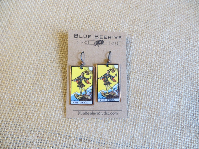 EBX16-00a: Tarot Earrings The Fool Rider-Waite jewelry image 0