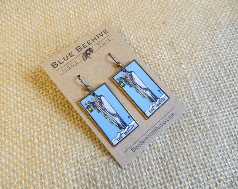 EBX16-09a: Tarot Earrings The Hermit Rider-Waite jewelry image 0