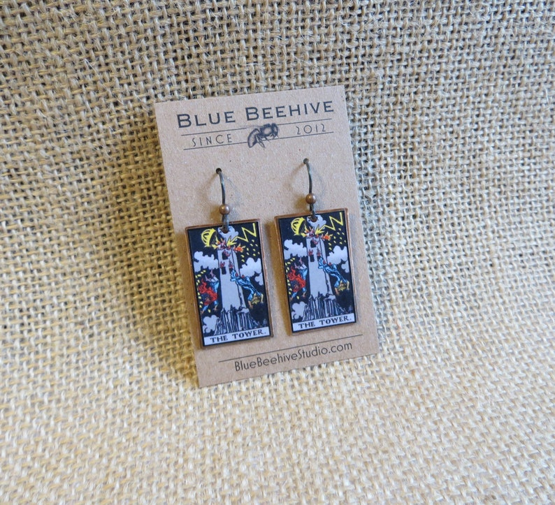 EBX16-16a: Tarot Earrings The Tower Rider-Waite jewelry image 0