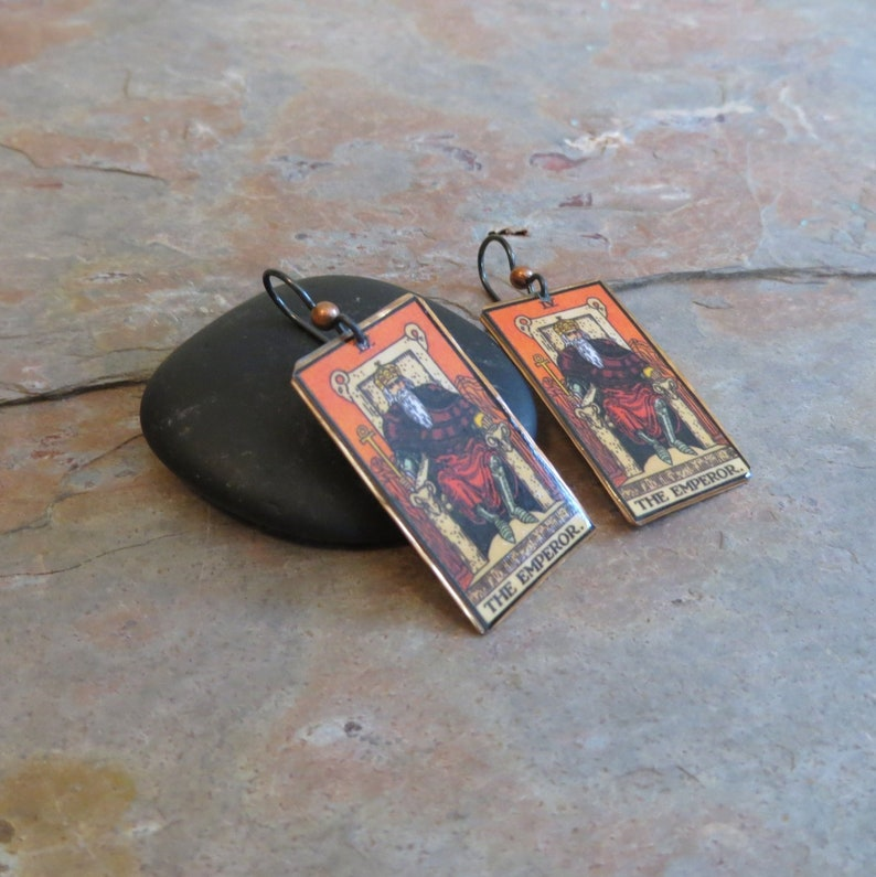 EBX16-04: Tarot Earrings The Emperor IV Rider-Waite jewelry image 0