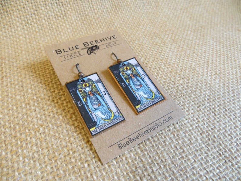 EBX16-02a: Tarot Earrings The High Priestess Rider-Waite image 0
