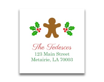 Christmas Address Labels Holiday Return Gingerbread Personalized For Cards