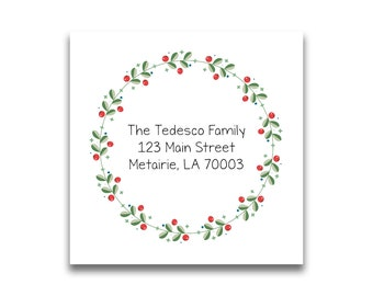 Christmas Address Labels Holiday Return Wreath Personalized For Cards