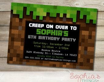 Mine Birthday Party Invitation, Mining Theme Party Invite, Pixelated Mine Birthday Party Invitation, Printable or Printed
