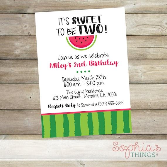 watermelon theme birthday party invitation it s sweet to etsy