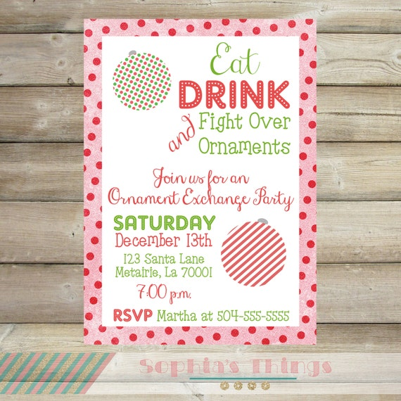 ornament exchange party christmas party invitation holiday etsy