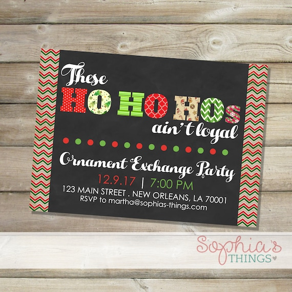 Ornament Exchange Party Invitation Funny Naughty Christmas Etsy