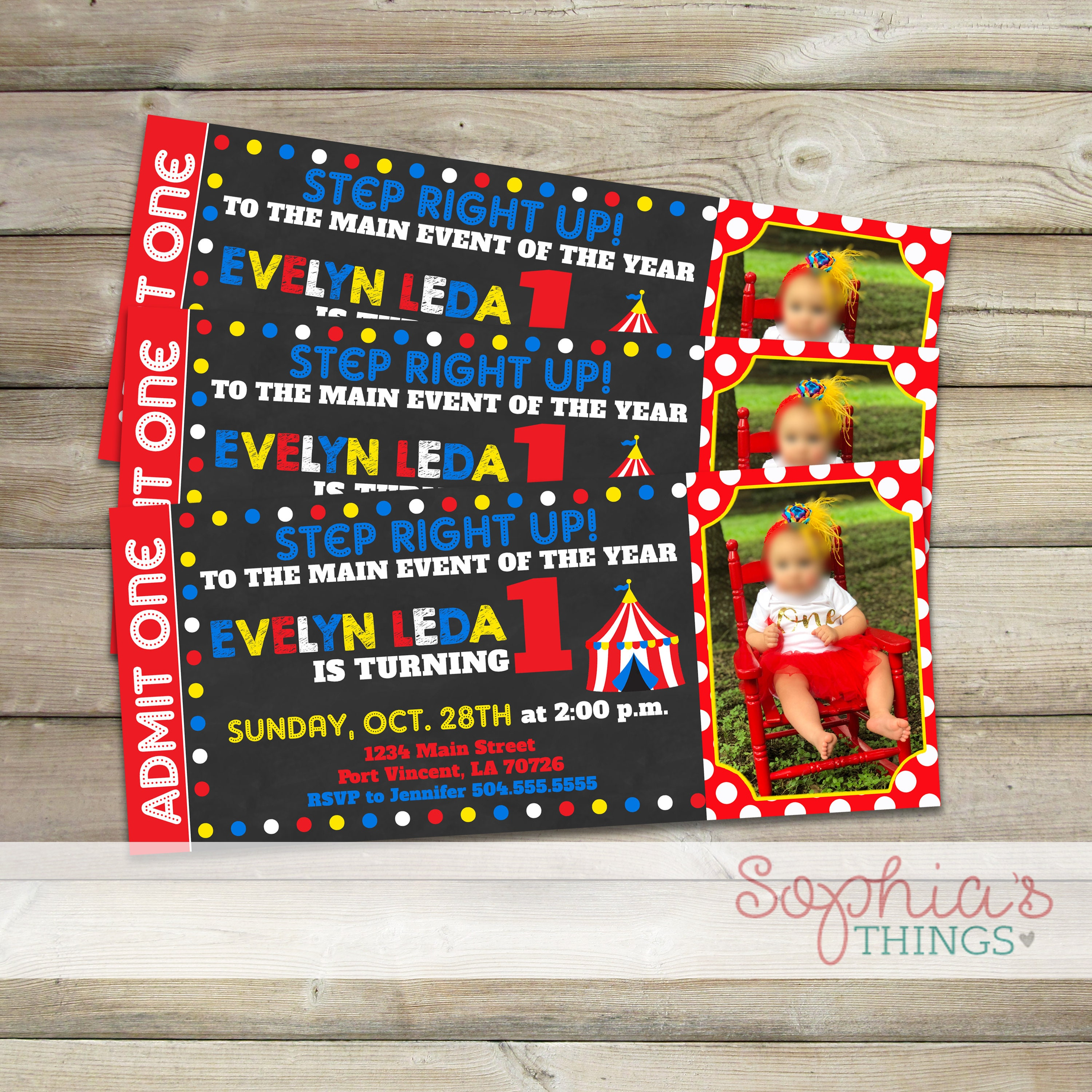 Circus Birthday Invitations Carnival Ticket Party