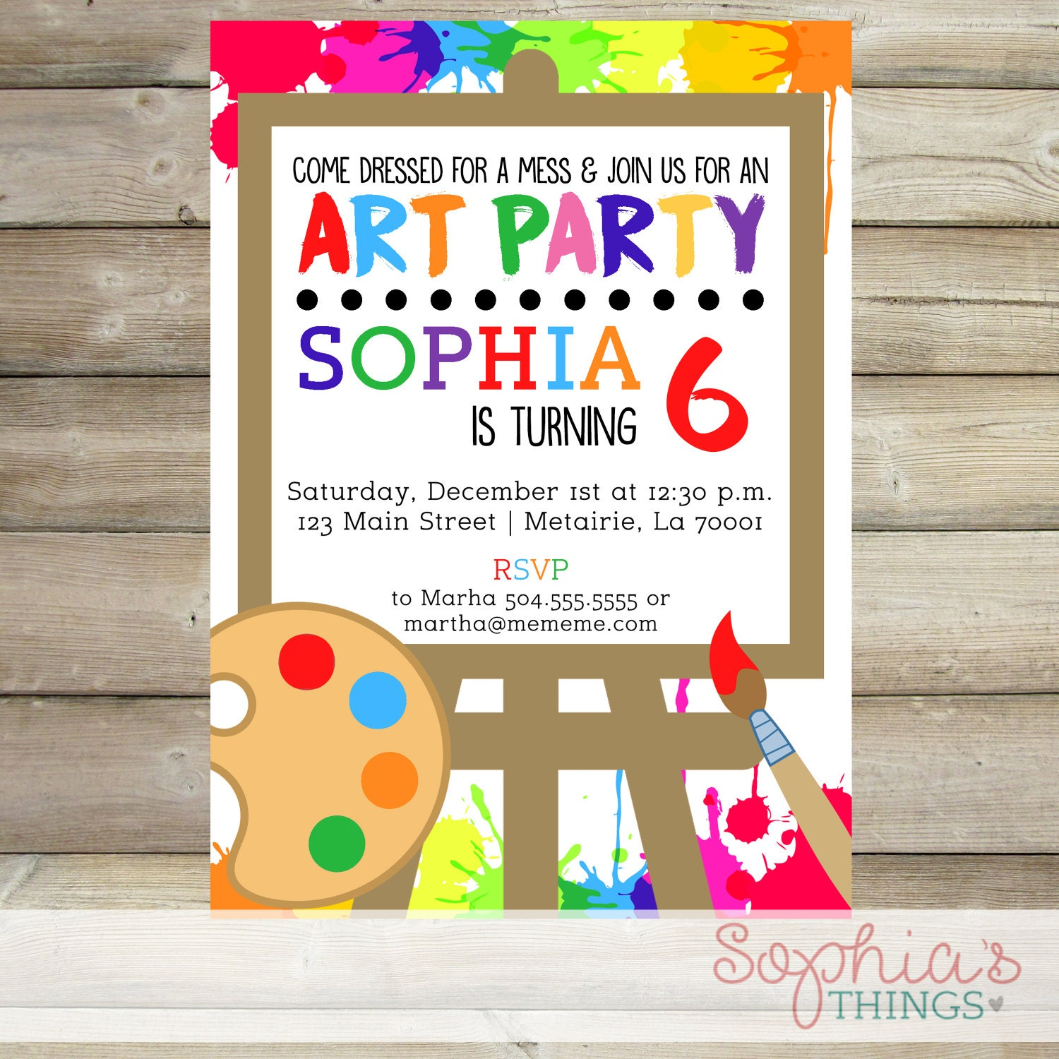Paint Birthday Party Invitation Art Party Theme Painting | Etsy
