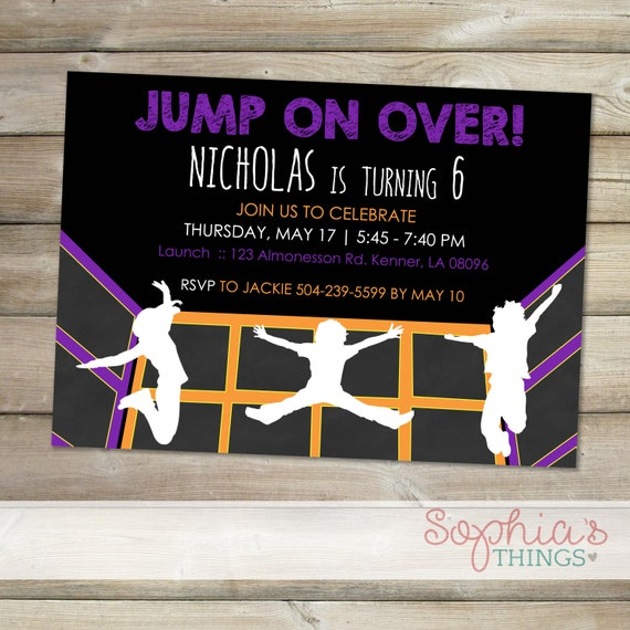 Trampoline Party Invitations Indoor Trampoline Park Party Etsy