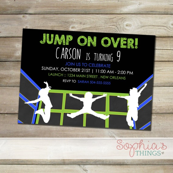 Trampoline Party Invitations Indoor Trampoline Park Party Bounce Party Jumping Birthday Party Theme Green Blue And Black Jump Party