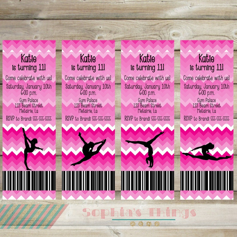 Gymnastics Birthday Party Printable Invitation