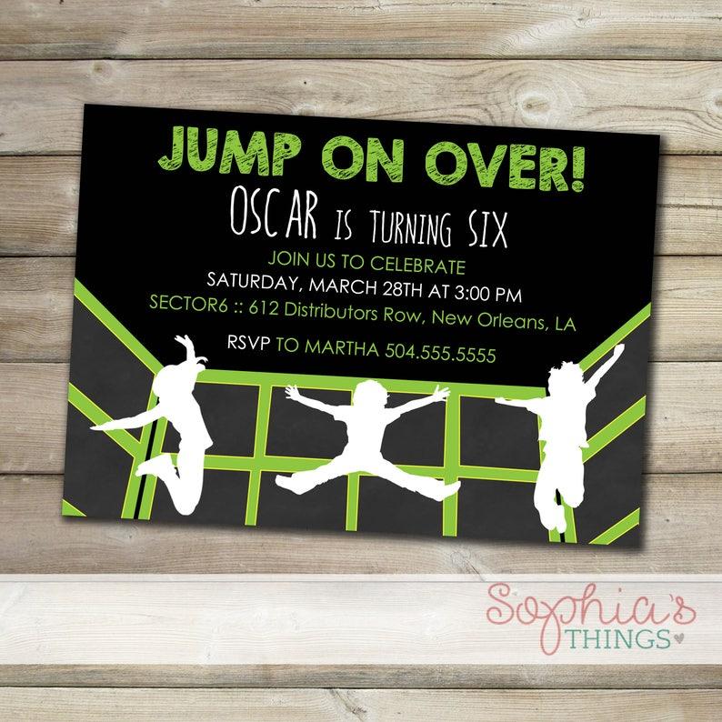 Trampoline Party Invitations Indoor Park