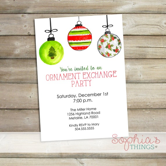 ornament exchange party invitations christmas watercolor etsy