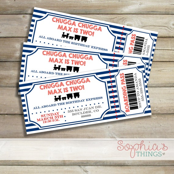 Train Ticket Birthday Party Theme Printable