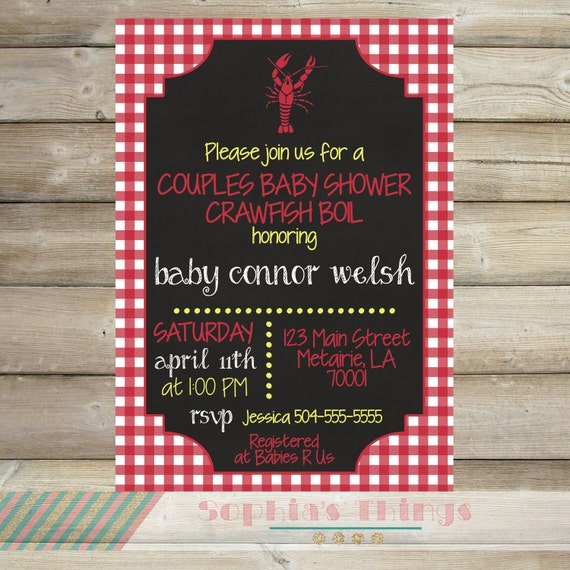 Couples Shower Baby Shower Crawfish Boil Party Invitation Etsy