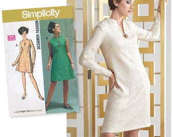 UNCUT Simplicity 8454 Dress Sewing Pattern Size 10-12-14-16-18 1960s Dress- Mod Dress- Retro Pattern, Shift Dress