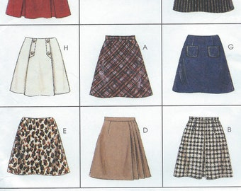 UNCUT Misses' Skirt Sewing Pattern McCall's 7777 Size 8-10-12 Pencil, Bell, Midi, Classic Skirt, Pleated