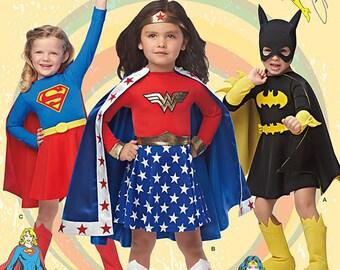 UNCUT Girl's Super Hero Costume Simplicity 0222 or 1035 Size 3-4-5-6-7-8 Halloween Costume, Wonder Woman, Super Girl, Bat Girl