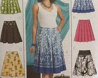 UNCUT Misses' Skirt Sewing Pattern Butterick 4686 Size 6-8-10-12-14-16-18-20 Pleated, Easy, Beginner, Bell, Midi, Classic Skirt