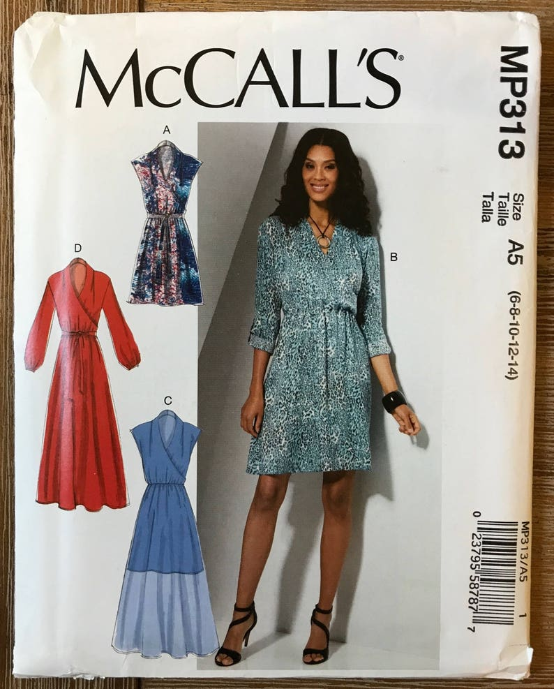 UNCUT Misses' Dress Pattern McCall's 7534 Size 6 8 10 12 14 16 18 20 22 Easy Dress, Short Sleeve, Daydress, Long Sleeve, Maxi Dress