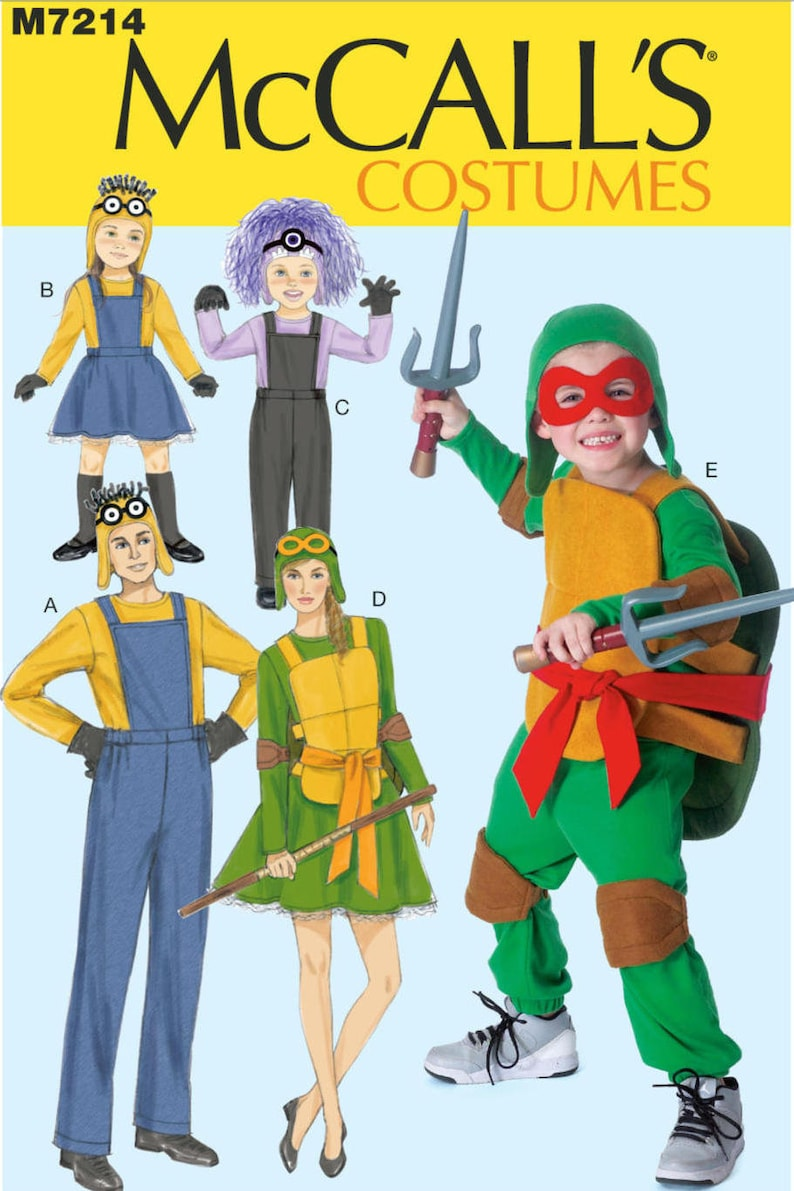 Minions Halloween Costume.Uncut Child Toddler And Adult Halloween Costume Sewing Pattern Mccall S 7214 Minions Halloween Costume Pattern Minon Ninja Turtles Monster