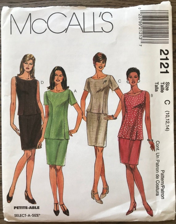 McCall/'s 2121 Misses/' Tops in Two Lengths and Skirt Sewing Pattern