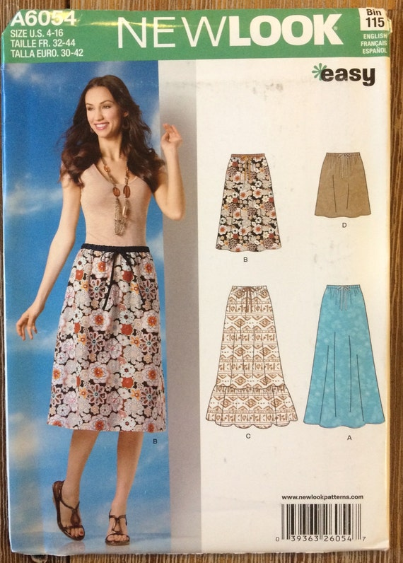 UNCUT New Look 6054 Skirt Sewing Pattern Size 4-6-8-10-12-14-16 ...