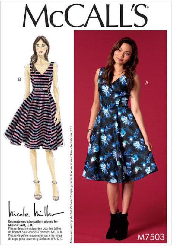 McCalls 7504 Misses Nicole Miller Dresses Sewing Pattern Sz 6-14