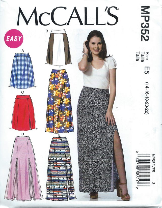 Uncut Misses Skirts Sewing Pattern Mccalls 7096 Maxi Etsy