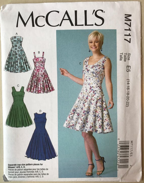 9cf369cd13 UNCUT Misses  Dress Sewing Pattern McCall s 7117 Size