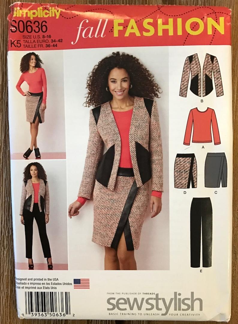 de1041bc90016 UNCUT Simplicity 1324 Top Jacket Skirt Pants Sewing Pattern | Etsy