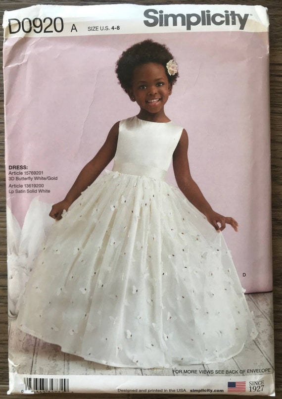 Simplicity 1508 Classic Formal Flower Girl Princess Gown Sewing Pattern sz 4-8