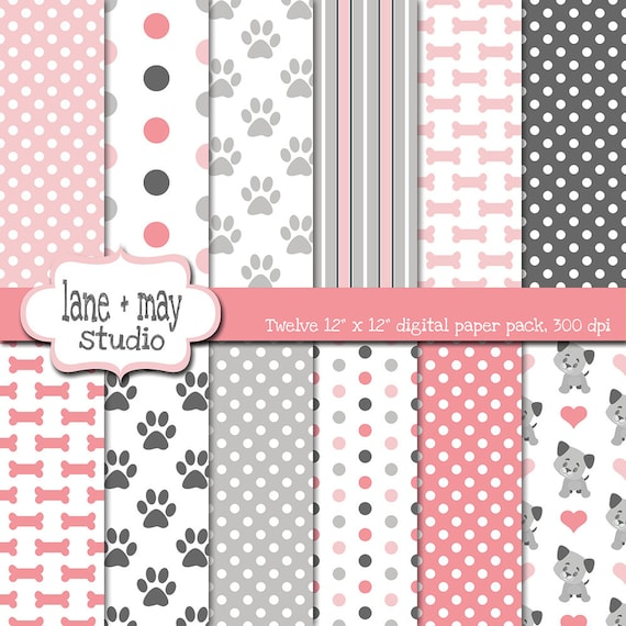 Digital Scrapbook Papers Pink And Gray Puppy Dog Theme Etsy