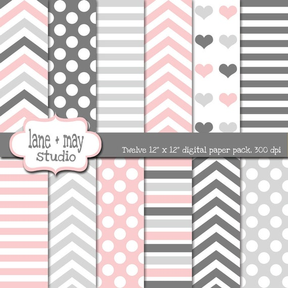 Digital Scrapbook Papers Pink And Gray Stripe Chevron And Etsy