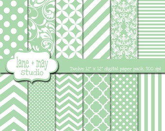digital scrapbook papers - mint green and white variety pack - INSTANT DOWNLOAD