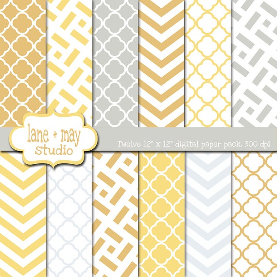 Digital Scrapbook Papers Yellow And Gray Chevron And Etsy