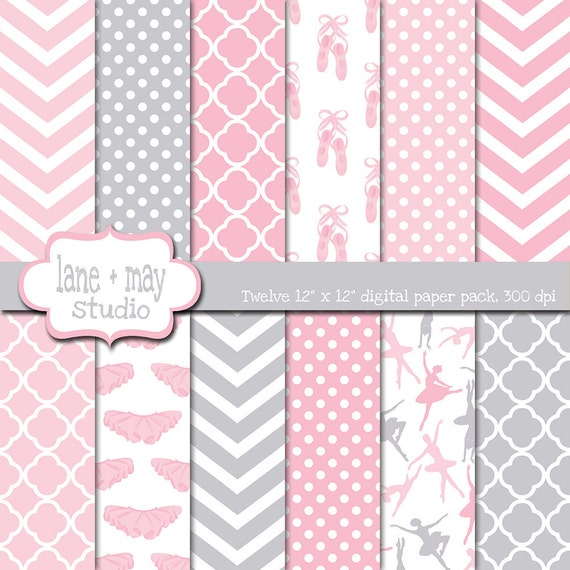 Digital Scrapbook Papers Tutu Cute Ballerina Themed Pink And Etsy