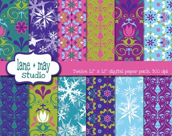 digital scrapbook papers - nordic flower and frozen snowflake themed - INSTANT DOWNLOAD