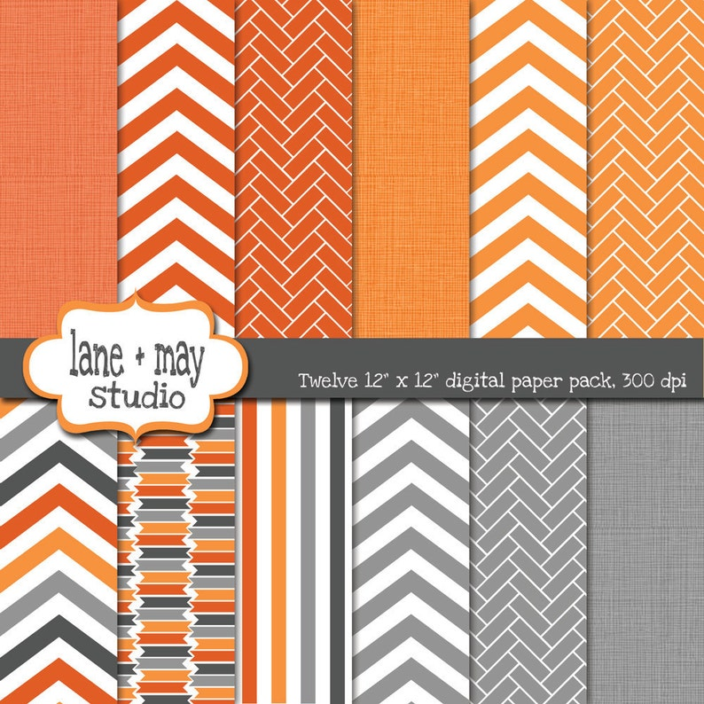 digital scrapbook papers  orange and gray linen and chevron image 0