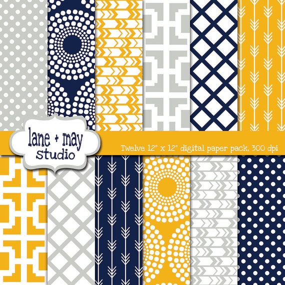 Digital Scrapbook Papers Mustard Yellow Navy Blue And Gray Etsy