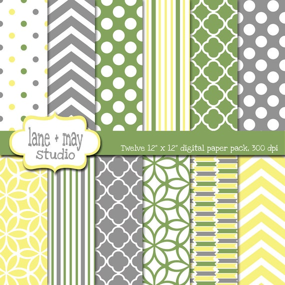 Digital Scrapbook Papers Sage Green Yellow And Gray Etsy