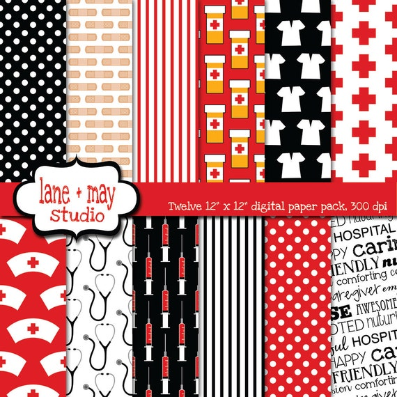 Digital Scrapbook Papers Black And Red Nursing Theme Etsy
